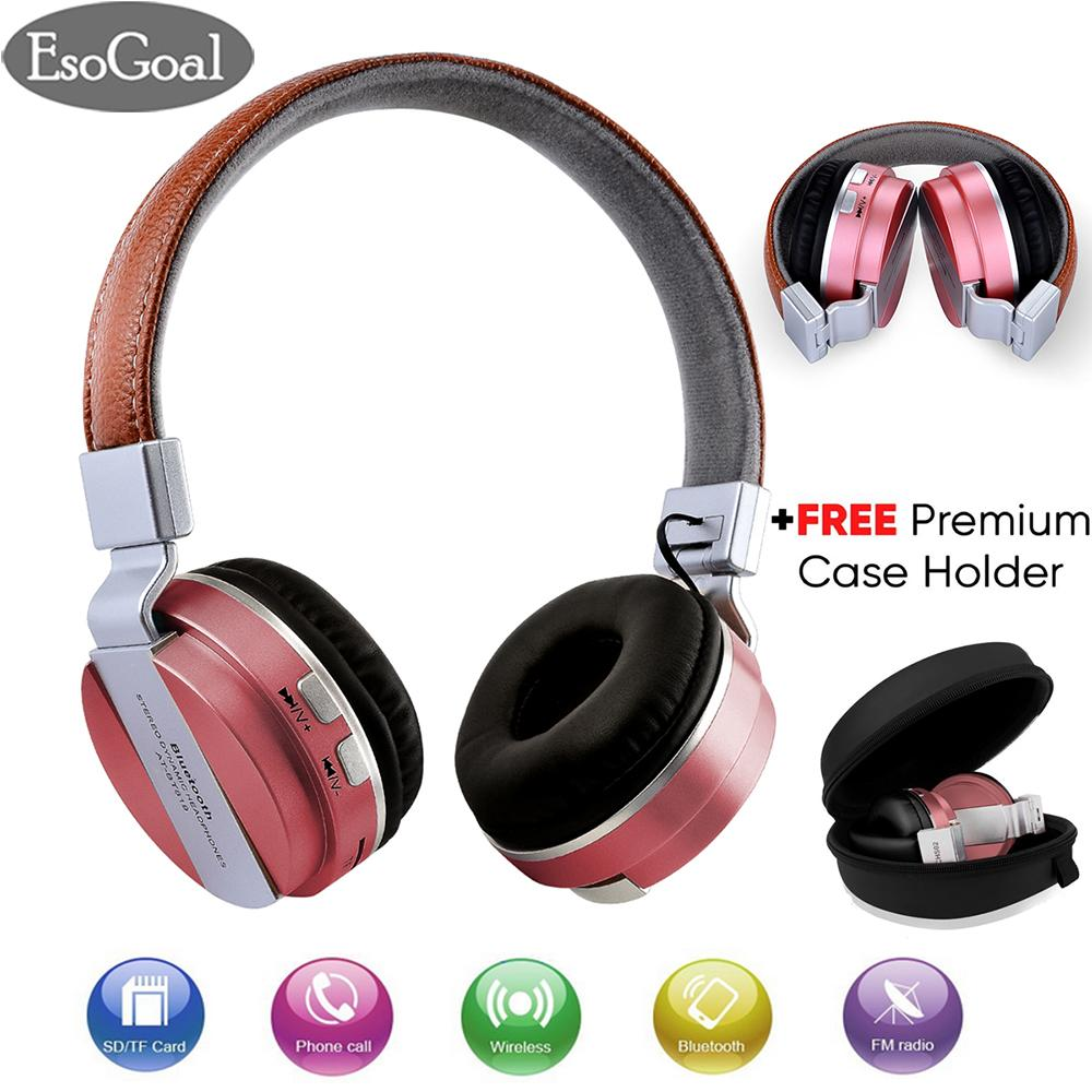 Esogoal Wireless Bluetooth Headphone Foldable Leather Sport Headset With Fm Radio Aux Tf Card-Mp3 And Premium Case Holder By Esogoal.