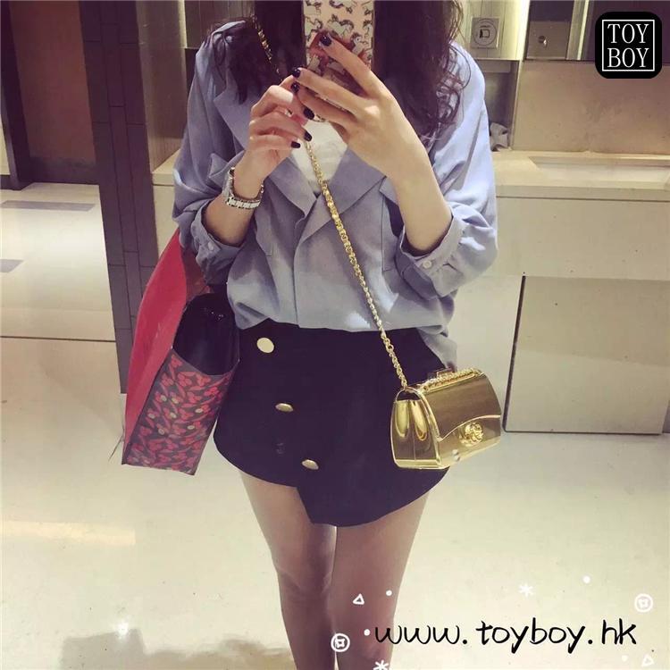 50f1288ee1c0 Li Xiaolu Celebrity Style Toyboy Luxury Gold Color Square Sling Bag Lady  Mirror in Lambskin Chain