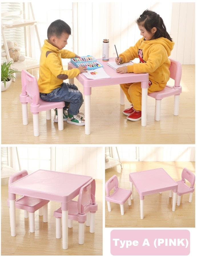 Kids Study Learning Alphabets Teaching Education Table Desk Chair Set