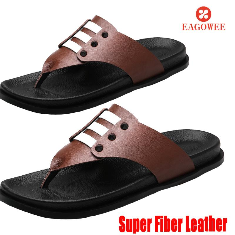 Top 10 Eagowee Men S Flip Flops Summer Cool Super Fiber Slippers Fashion Beach Sandals Shoes For Male Big Size 28 44 Coffee
