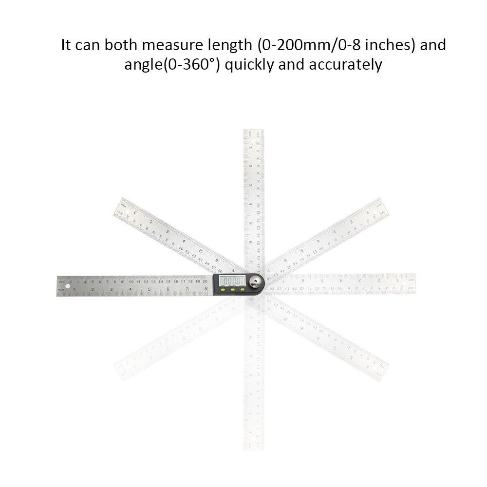 KKmoon 0-200mm//8 Inches Stainless Steel Digital Protractor Angle Finder Ruler with Reversible Reading Hold Function