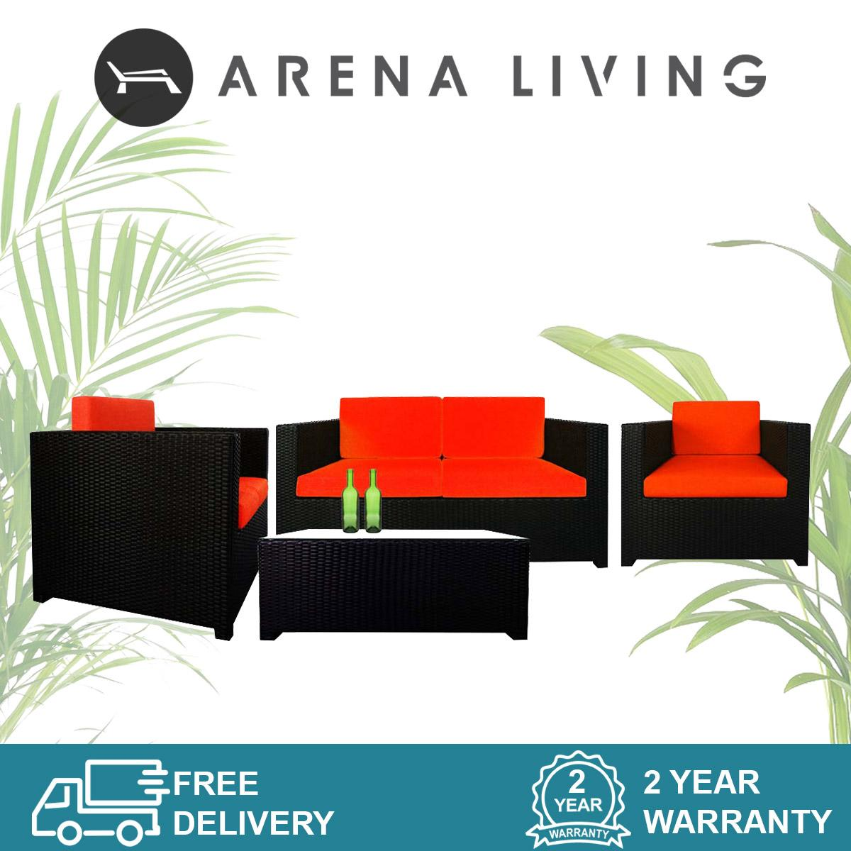 Fiesta Sofa Set II Orange Cushions, Outdoor Furniture by Arena Living