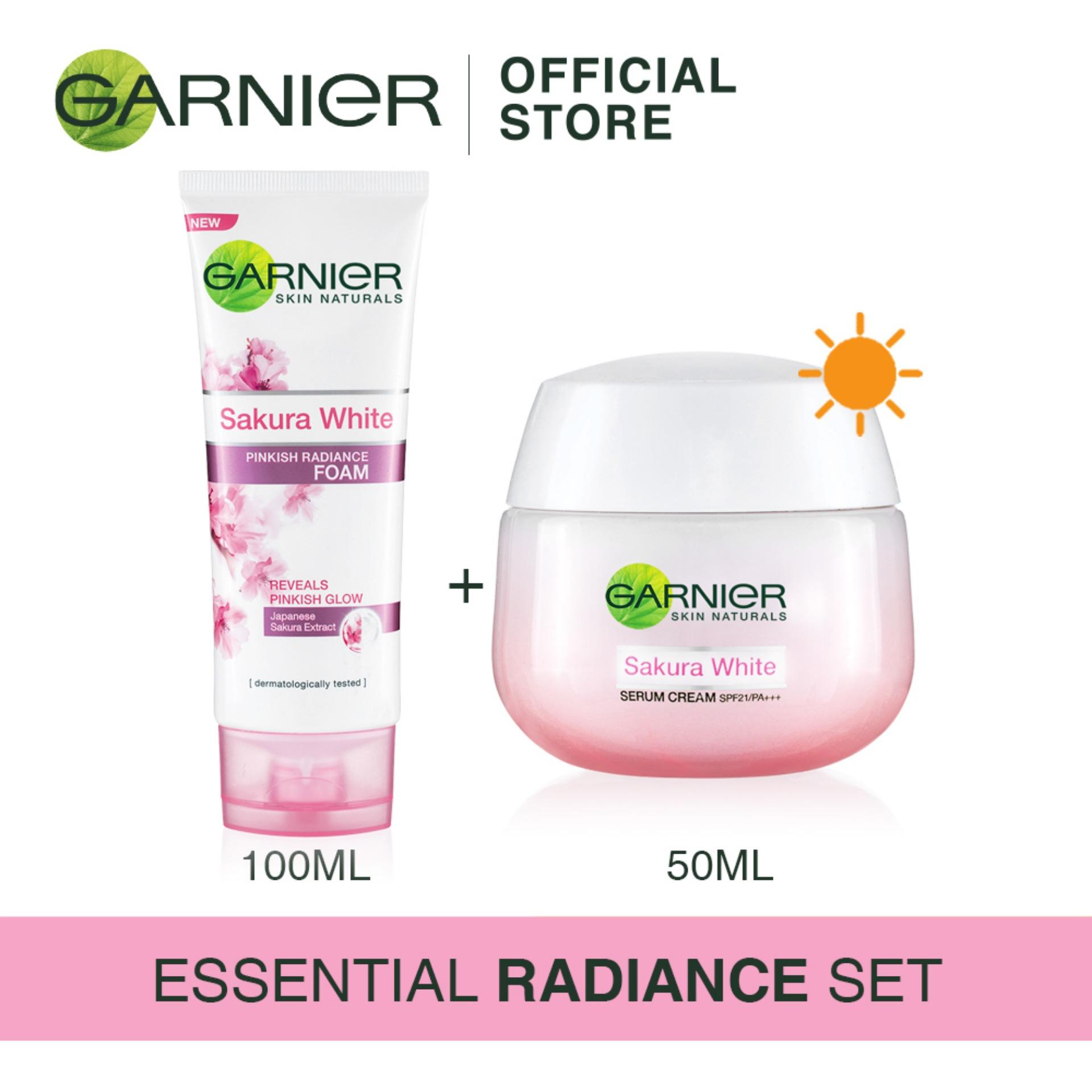 [Essential Radiance Set] Garnier Sakura White Foam 100ml + Day Cream 50ml