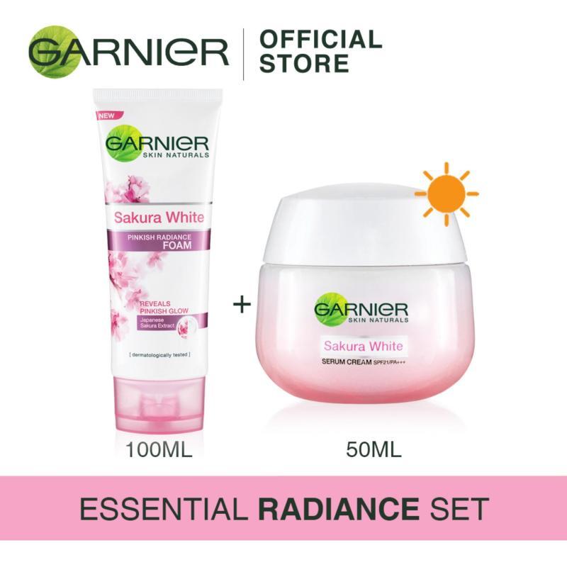 Buy [Essential Radiance Set] Garnier Sakura White Foam 100ml + Day Cream 50ml Singapore