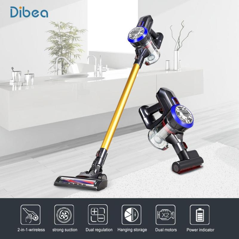 Dibea D18 2 In 1 Upright Cordless Vacuum Cleaner with LED light Lightweight Cordless Handheld Stick Vacuum Cleaner with Motorized Brush  Cyclone Filter 120W 8500 Pa Strong Suction Dust Collector Household Aspirator(Yelow/Red) Singapore