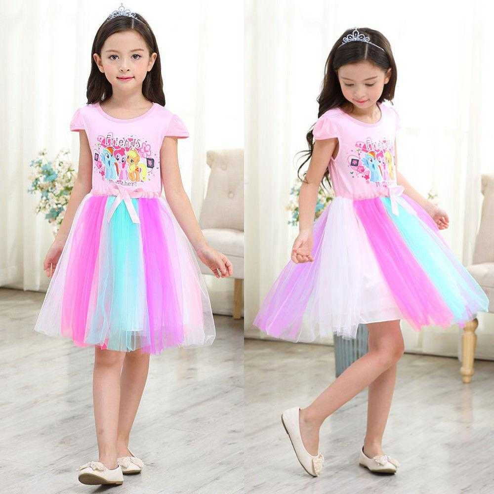 Kids Girls Cute Cartoon Printed Rainbow Dash Tulle Tutu Dress Fancy Princess Party Little Pony Summer Casual Dresses 3 8Y Size 100 140 Coupon