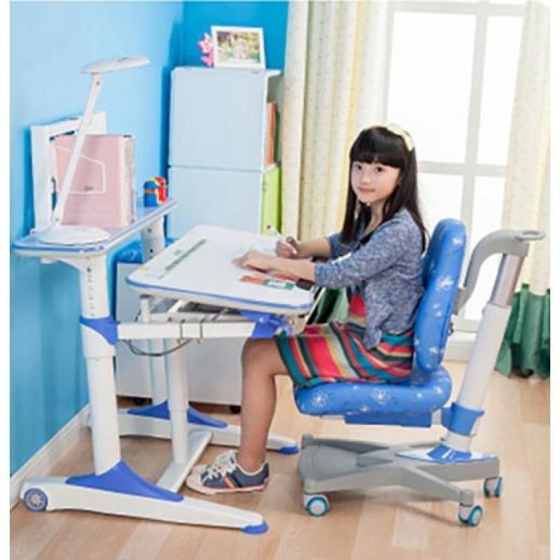 Blue E950 Kids Ergonomic Study Table (Without Drawer & White Rack)