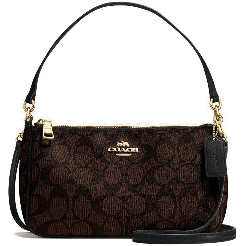 Coach Messico Top Handle Pouch In Signature Crossbody Bag Handbag Black Brown F58321 Gift