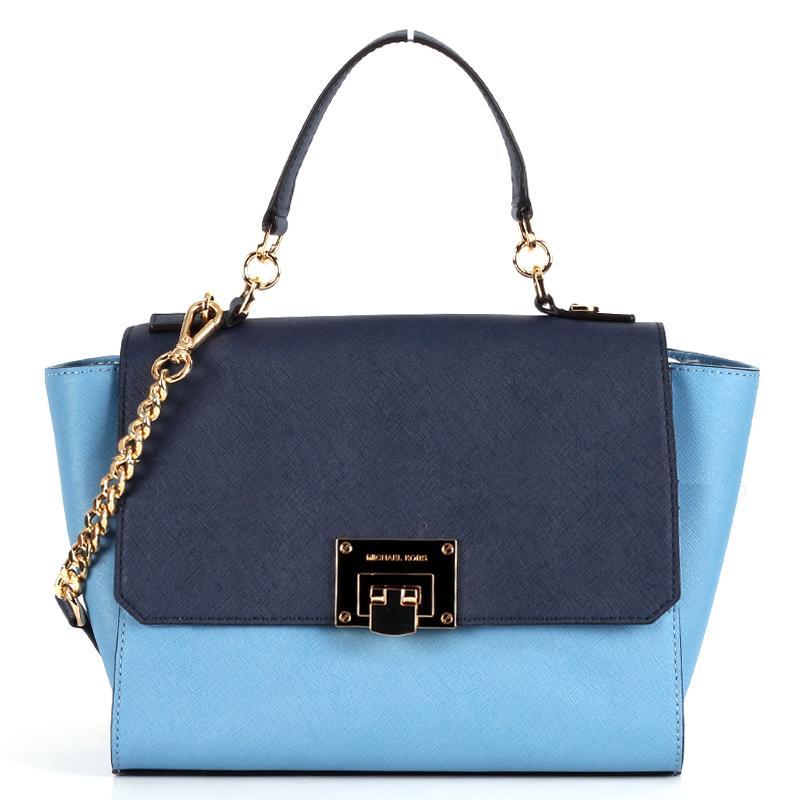 Michael Kors Tina Tze Crosshatched Saffiano Leather Color Block Crossbody Tote Bag