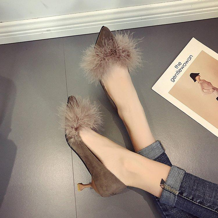 Spring And Summer New Style Tassels Fluffy Shoes Pointed Kitten Heels Women High Heels Schick Suede Shallow Mouth Semi-High Heeled Thin Heeled Single Shoes Female By Taobao Collection.