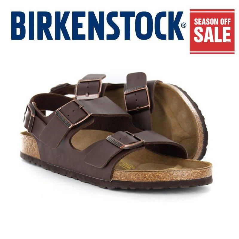 b7fcfae64 Classic Birkenstock 034701 Mens Birkenstock Milano Brown Birko-Flor®
