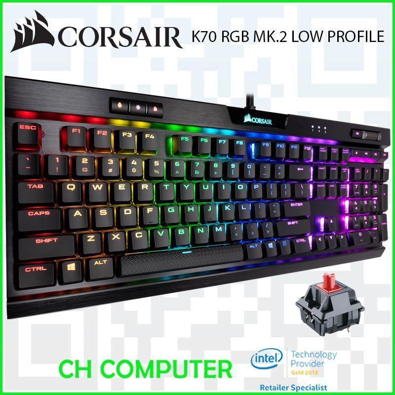 Corsair K70 RGB MK.2 Low Profile Mechanical Gaming Keyboard — CHERRY® MX Low Profile Red Singapore