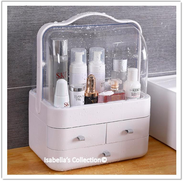 Makeup Organizer With Handle Cover Cosmetic Storage Drawer Cabinet Portable Hand Carry