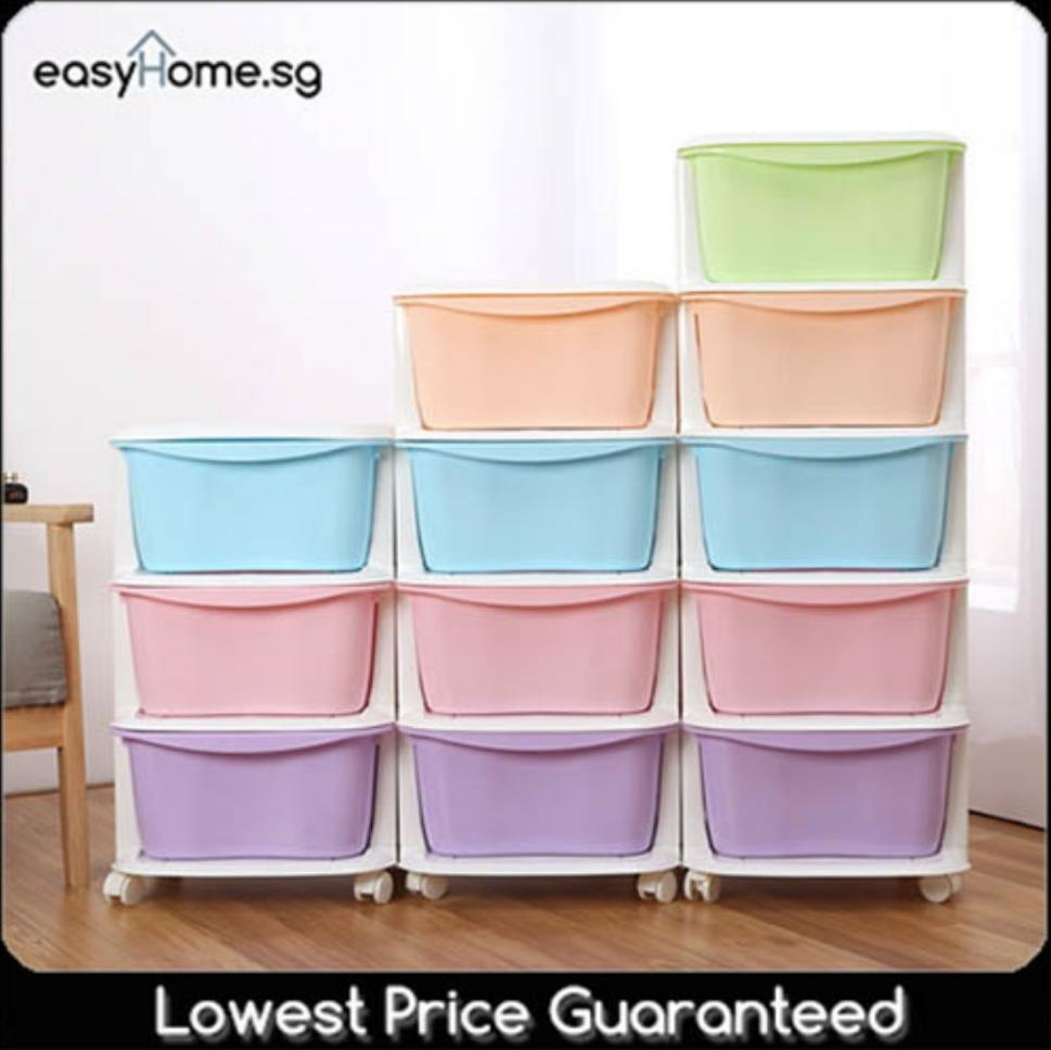 3, 4, or 5 Tier Cabinet - Plastic Storage Box Drawer Organizer Container Rack Shelf