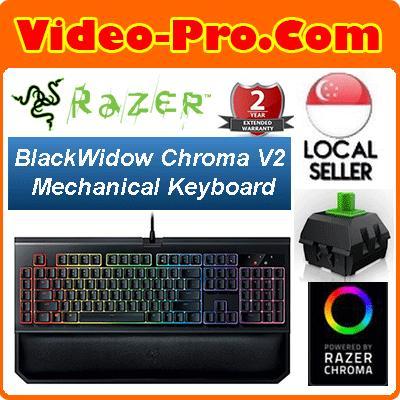 Razer BlackWidow Chroma V2, Tactile and Clicky Mechanical Gaming Keyboard,  Programmable, 5 Macro Keys - Green Switch Singapore