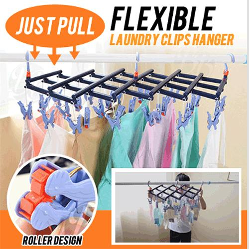 Just Pull Flexible Laundry Clips Hanger / 14 Clips 29 Clips / Clothes Organiser / Home Drying Rack By Gladleigh.