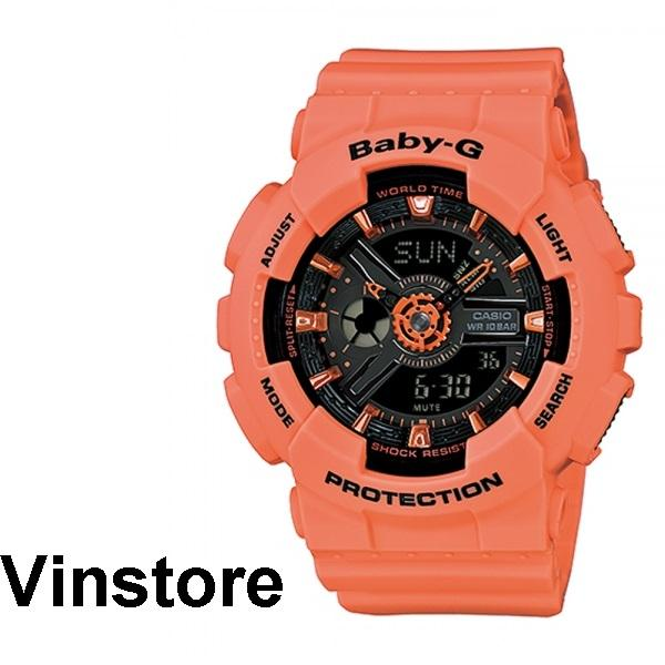 07bfbc5c1a Casio Baby-G BA-111-4A2 BA-111-4A2DR BA111-4A2 Women Watch Orange Coral  Strap Black dial Women Sport watch