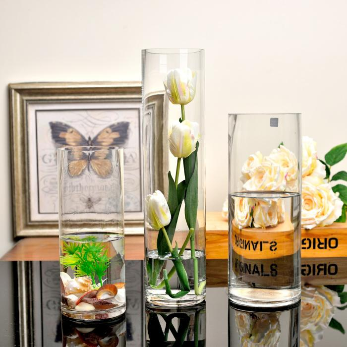 Landing Straight Grow in Water Vase Flower Holder Large Size FGZ Glass Wedding Road Lead Hotel Living Room Decoration Transparent