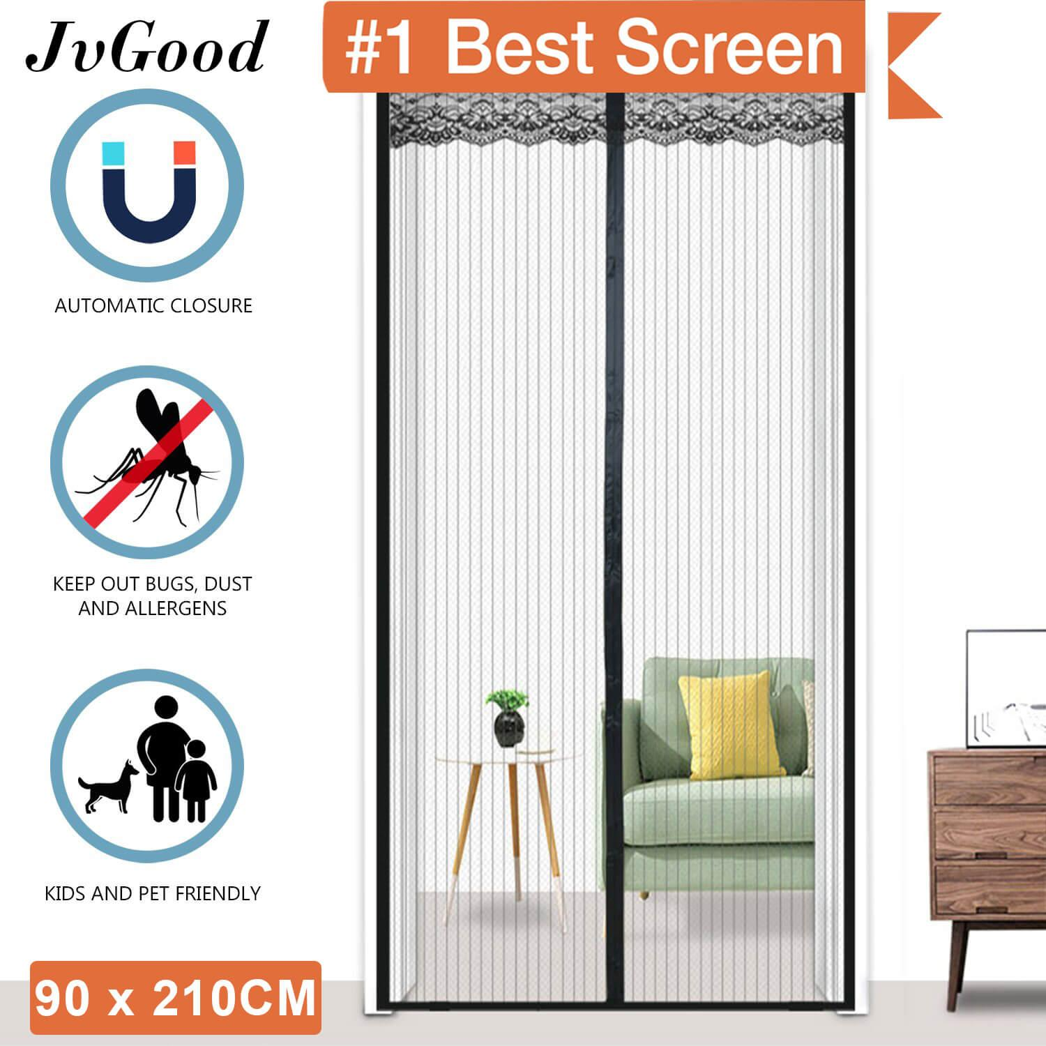 "JvGood Magnetic Screen Door with Heavy Duty Mesh Curtain Full Frame Velcro Mosquito Door Curtain Hand Free Close Open Automatically Bugs Off Pets Friendly Fit Door (90 x 210cm/35 x 83"")"