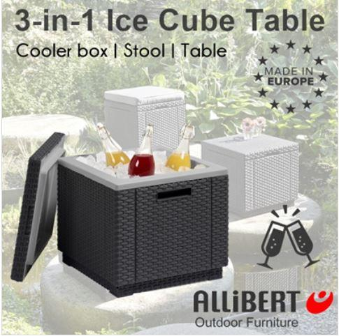 Allibert 3 in 1 Ice Cube Cooler box/ Side Table/ Stool Graphite | Outdoor Garden Furniture | Europe