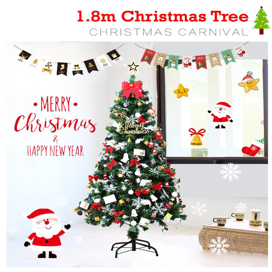 Christmas Tree with free 2 Pack Ornaments Decoration & Fairy Lights Mixed Colour - 1.8 meter