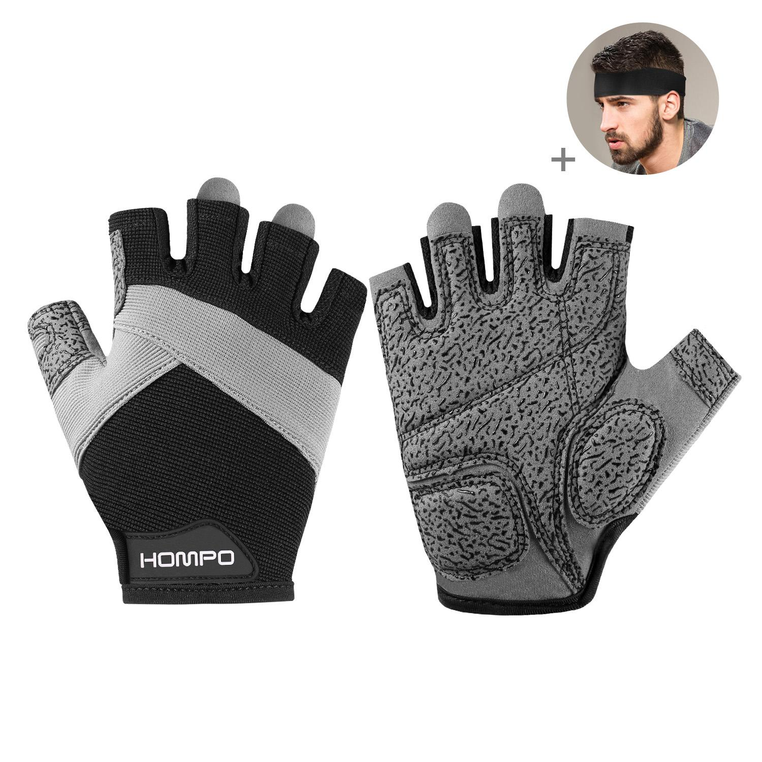 Hompo Workout Gloves, Premium Gym Grade Weight Lifting Body Building Training Fitness Sports Gloves With Free Headband By Wripples.
