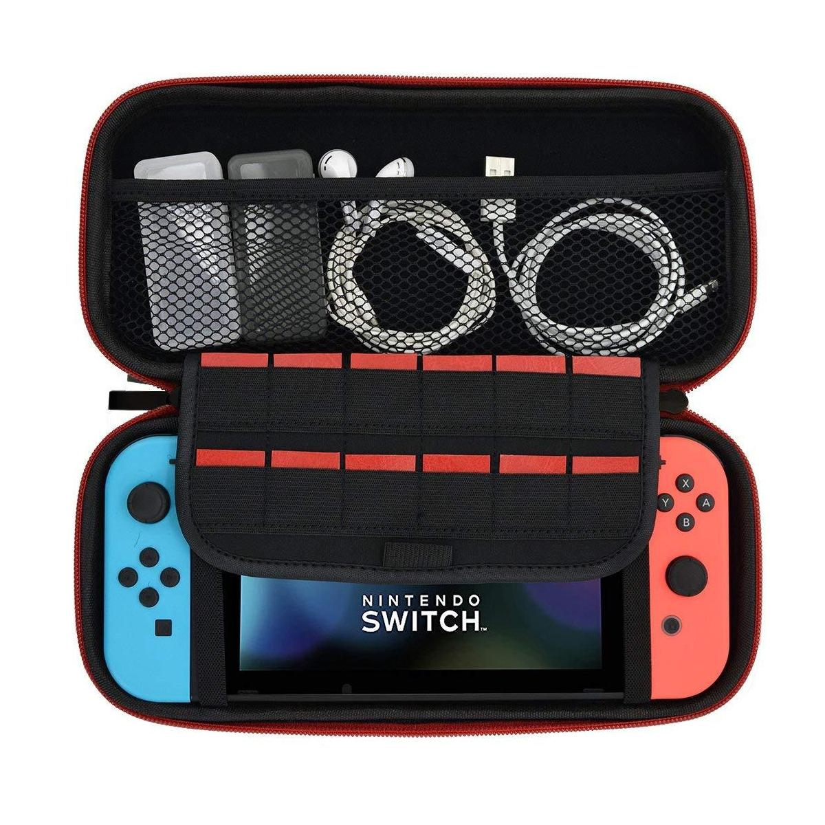 [sg] Nintendo Switch Carrying Travel Case/casing - Available In 3 Colours - Black/blue/orange - Eva Pouch - Protective Bag With Compartments To Safekeep Accessories - Local Sg Seller Fast Delivery By Premium Mobile Accessories.