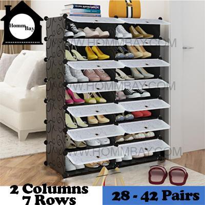 DIY Shoe Shoes Rack Storage Drawers Multi Purpose Modular Organizer Plastic Cabinets I BFTWF Series I 2 Column 7 Rows