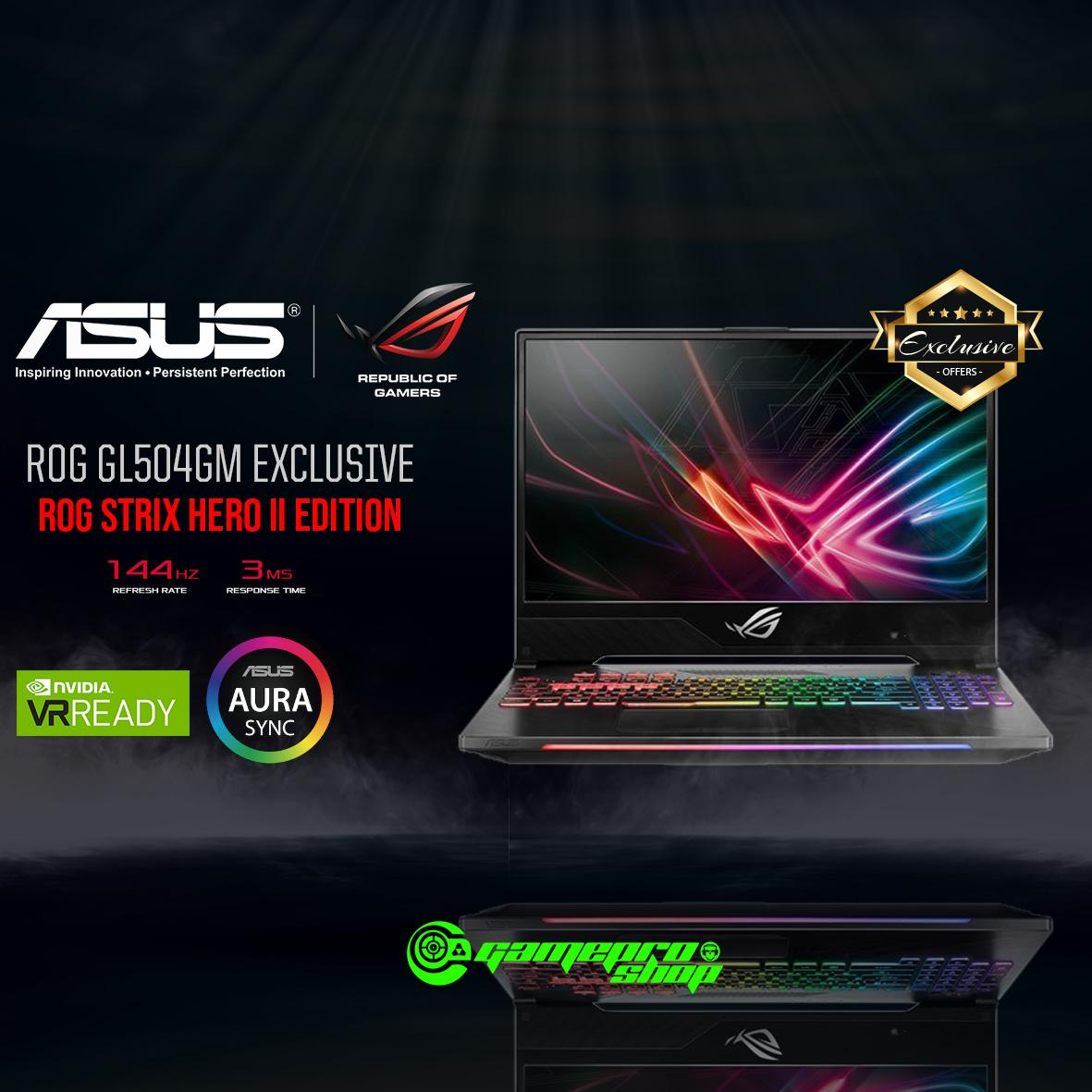 8th Gen ASUS ROG Strix Hero II GL504GM - ES057T EXCLUSIVE ( I7-8750H / 8GB / 128GB SSD + 1TB HDD / GTX 1060 ) 15.6 WITH 144Hz GAMING LAPTOP *11.11 PROMO*
