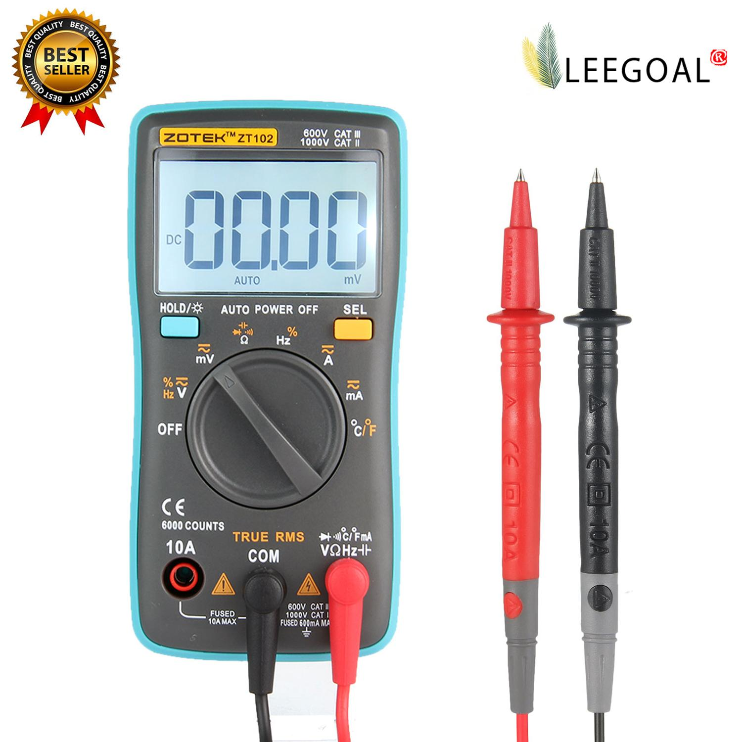 Leegoal Zt102 True Rms Multifunctional Lcd Digital Multimeter Dmm Dc Ac Voltage Current Resistance Diode Capacitance Temperature Tester Measurement Automatic Polarity Identification Ammeter Voltmeter Ohm - Intl By Leegoal.