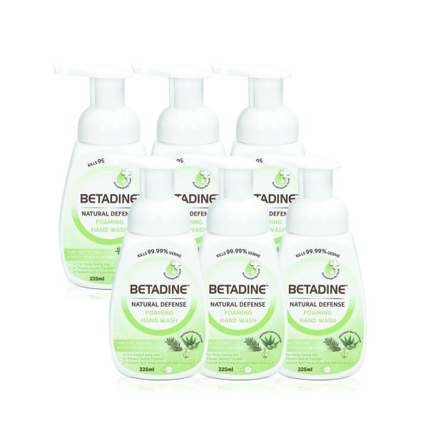 Buy Betadine Natural Defense Foaming Hand Wash Purifying Tea Tree & Moisturizing Aloe Vera 225ml x 6 Kills 99.999% Germs Singapore