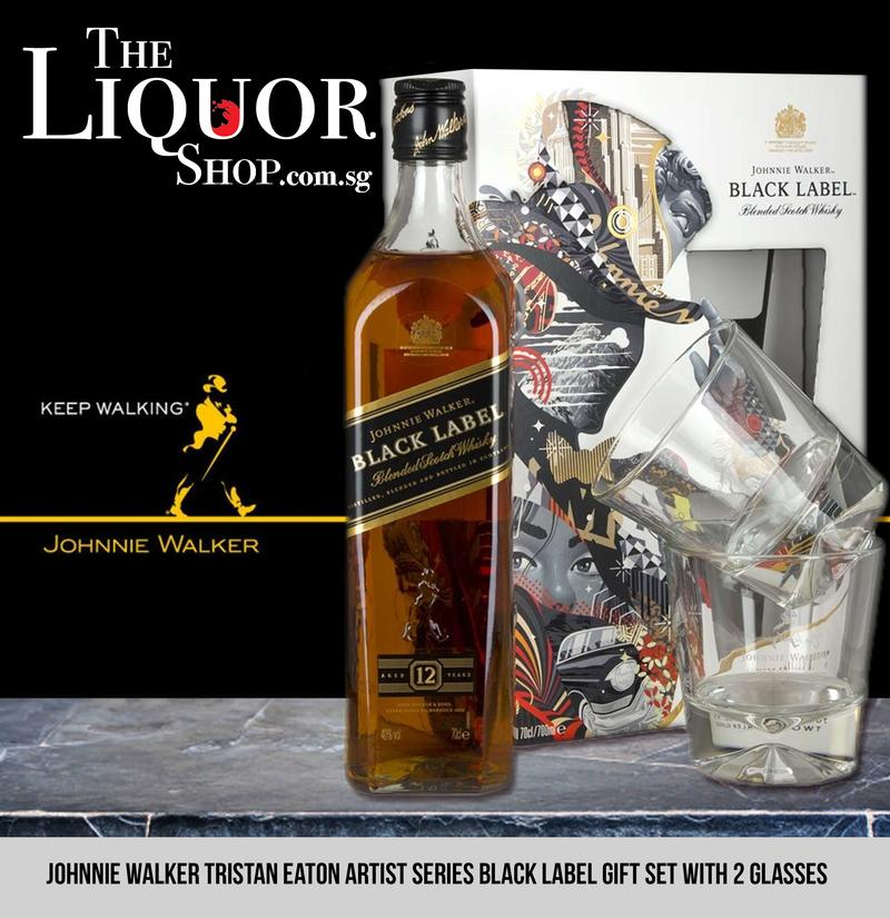 Johnnie Walker Tristan Eaton Artist Series Black Label Gift Set With 2 Glasses By The Liquor Shop.