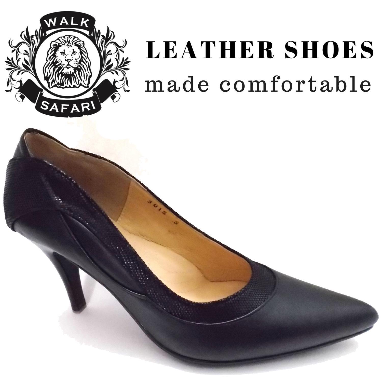 [walk Safari Lm3015] Ladies Classy Sharp Toe High Heels Leather Office Shoes By Everyone Footwear.
