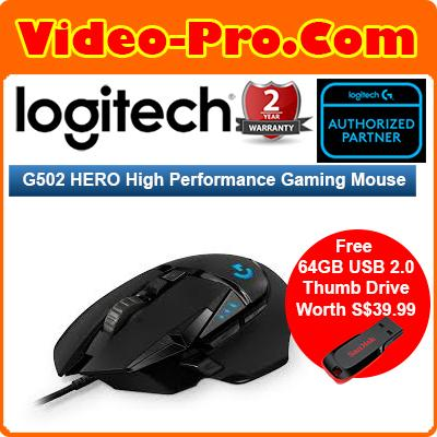 [Free 64GB* Thumb Dr] Logitech G502 HERO RGB High Performance Gaming Mouse