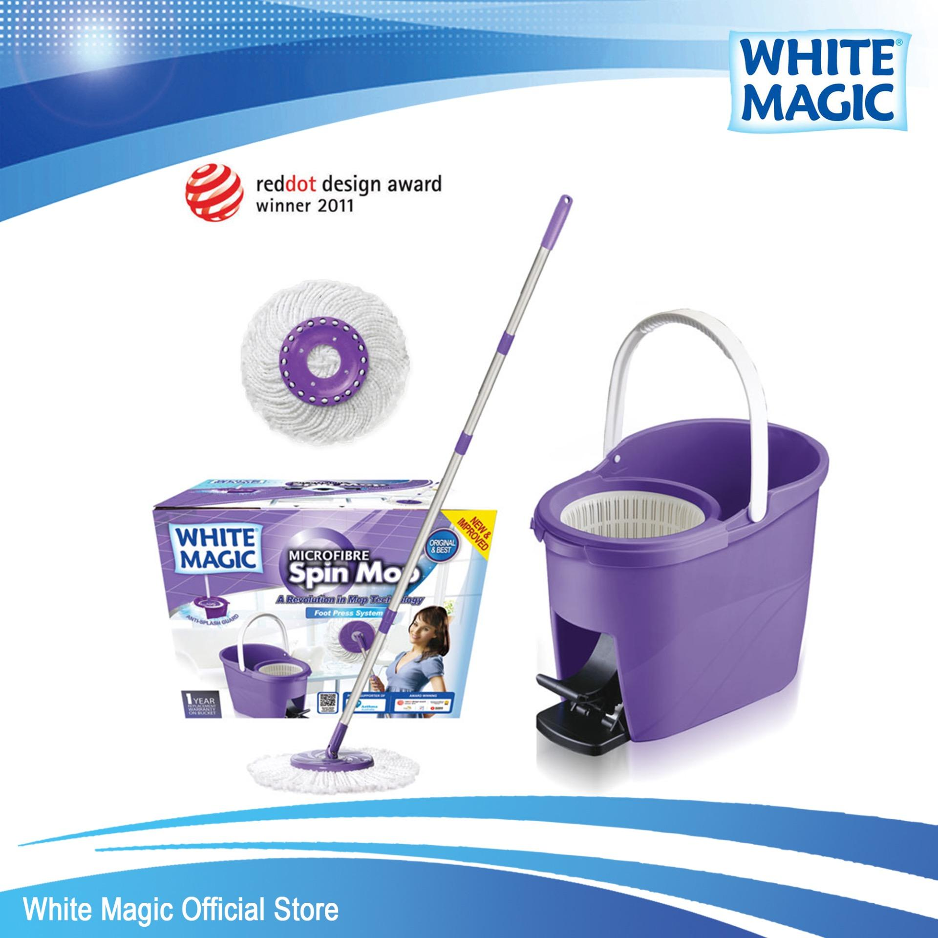 Great Deal White Magic Foot Press Spin Mop Set