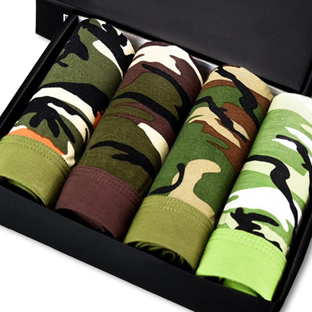 9f454adec3a Men Camouflage Underwear Bamboo Fiber Breathable Underpants Military Green  Sexy Boxers 4Pcs Box L-3XL