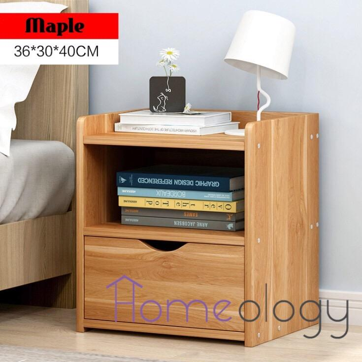 Bedside Table Space Saving Drawer Shelve Cabinet Study Desk