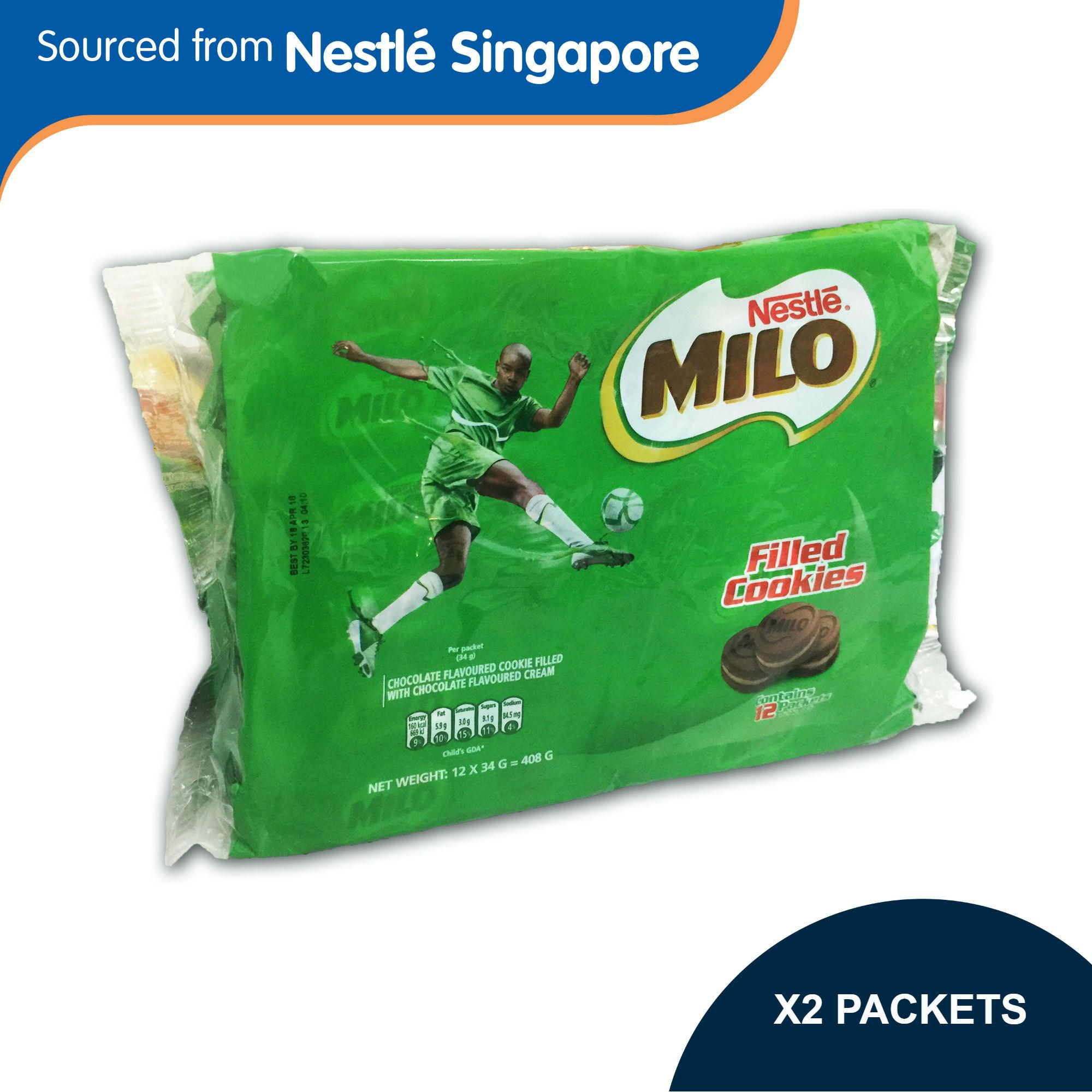 (2 Pack Bundle) Milo Biscuit Sandwich 12 X 34g By Nestle Official Store.