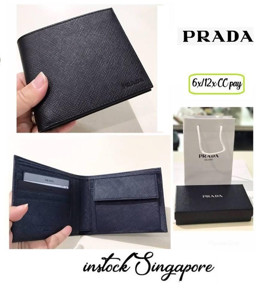 06c6872a2ba516 ... sweden singapore. prada 2mo002 saffiano mens wallet navy blue coin  compartment b27bd f5887