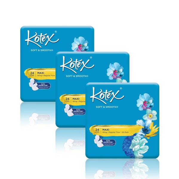 Buy Kotex Soft & Smooth Maxi Wing 24cm Pads 26s x 3 packs Singapore