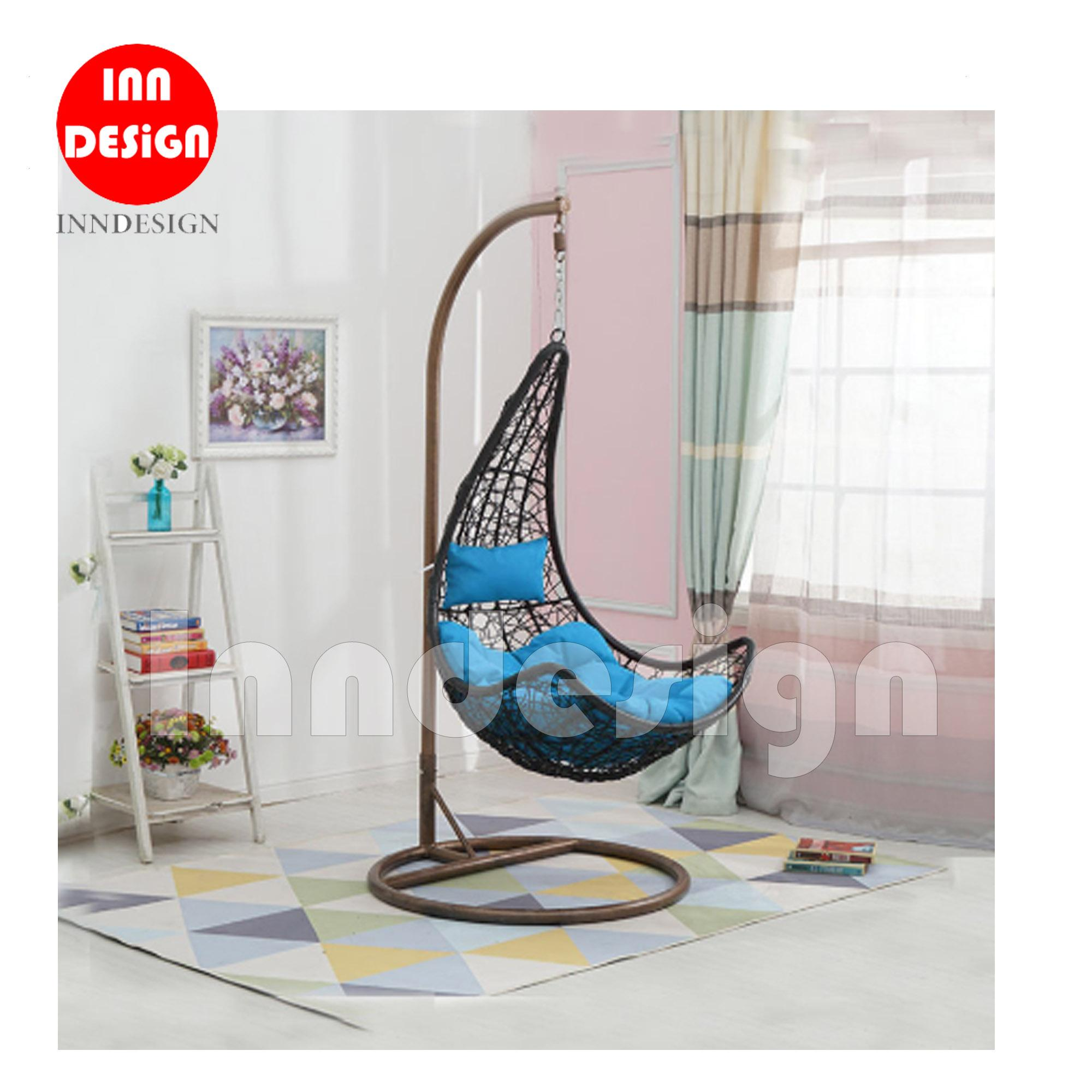 Miki Swing Chair / Lounge Chair / Relax Chair (Black + Blue)