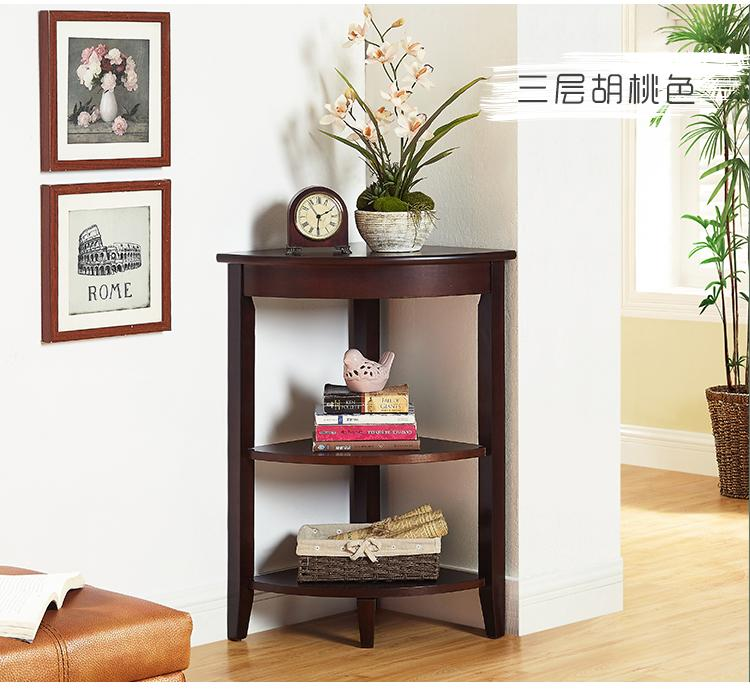 New Style European Style Solid Wood TRIANGLE Table Simple Corner Storage Shelf zhuan jiao zhuo Corner Small Side How Many Shelf Simplicity