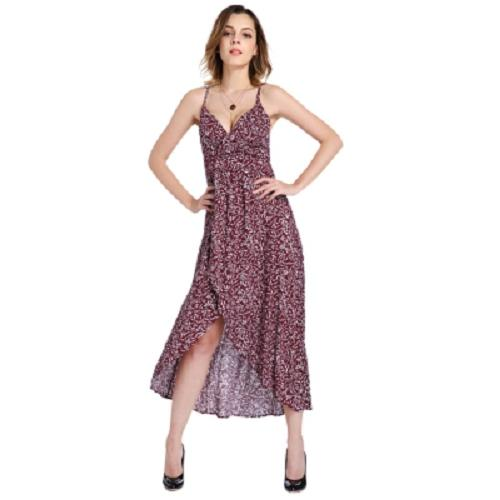 Best Price S*xy Spaghetti Strap Print Slit Asymmetric Women Slip Dress