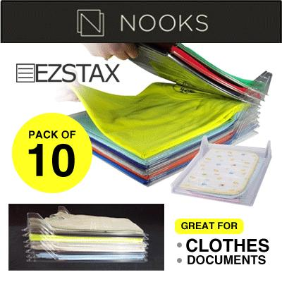 NOOKS - EZSTAX (Pack of 10) T-Shirt Organizing System/Clothes/Closet/Drawer/Wardrobe/bedroom