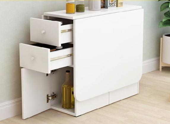 Jiji Maison Folding Storage Dining Table With Drawers (chairs Excluded) [free Installation] - Foldable Tables / Furniture / Kitchen (sg) By Jiji.