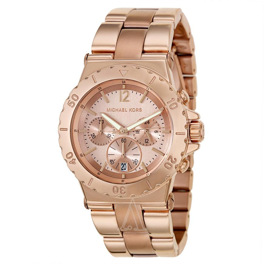 Michael Kors Rose Gold Dial Chronograph 45mm Ladies Watch Mk5314 By Watch Centre.