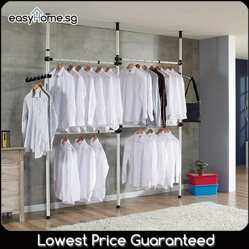 Buy 3804 Korean Standing Pole Clothes Rack Adjustable Hanger Bar Drying Shelf On Singapore