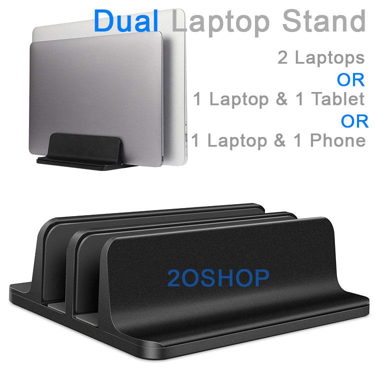Black Space Saving Vertical Laptop Stand With Double Slots Holds 2 Notebook At One Time. Dual Notebook Stand Holder With Adjustable Dock (up To 17.3 Inch), Fits All Macbook/surface/samsung/hp/dell/chrome Book/ipad/tablets/mobile Phones By 2oshop.