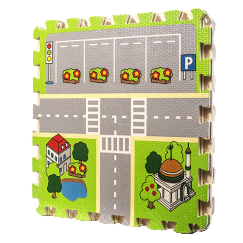 4 Pcs City Roads Baby Quiz Games Foam Crawling Cushion Jigsaw Carpet Game Mat By Stoneky.