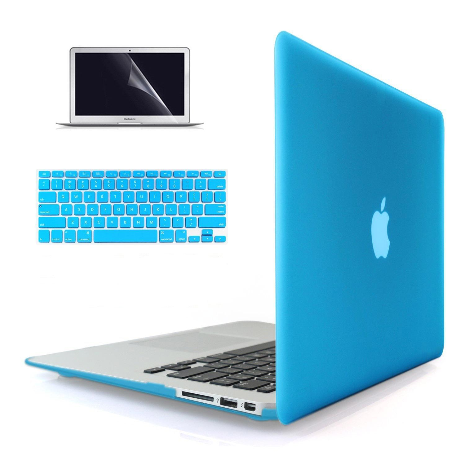 Welink 4 in 1 Matte Apple MacBook Air 13 inch Case / Soft-Touch Plastic Hard Case Cover +High Definition Anti-scratch Screen Protector + Anti-dust Plug + Keyboard Cover for Macbook Air 13 inch [ Models: A1369 / A1466 ] ( Sky Blue)